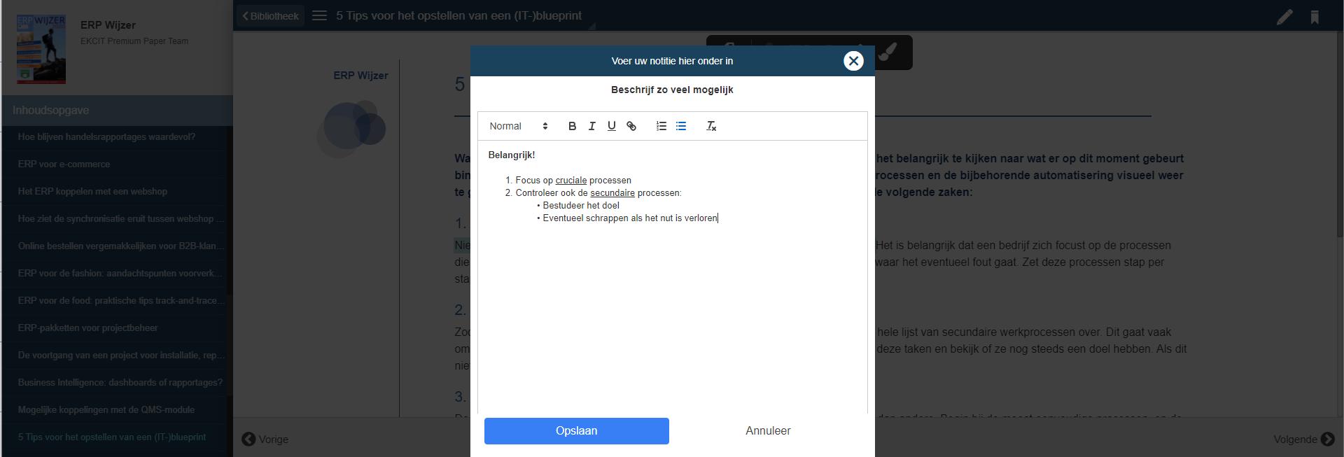 aantekening maken online