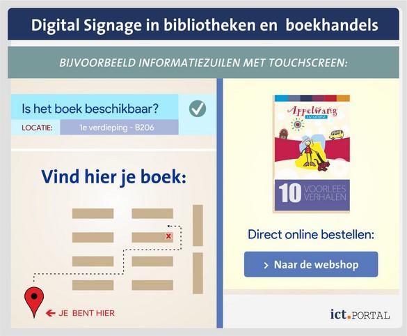 digital signage bibliotheken boekhandels informatie